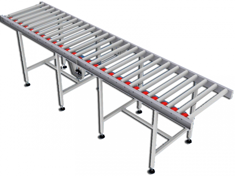 Flat belt powered roller conveyor roller beds citconveyors Motorized conveyor belt