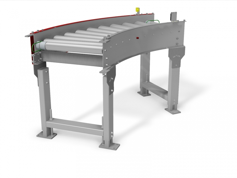 Stainless Steel Live Curved Roller Conveyor 45 Degrees