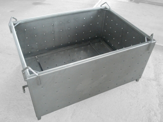 Stainless steel tank with holes for draining - Meat ...
