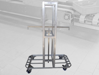 Stainless steel mobile tote tray support