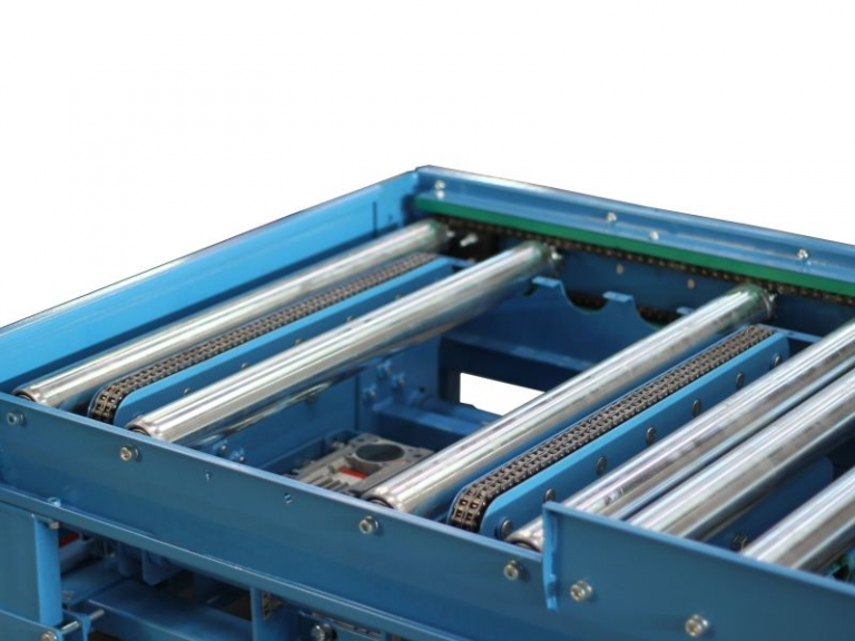 Geared Roller Conveyor With 90 Degree Pop Up Transfer